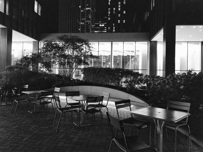 Black and white photo outdoor patio of Illinois Building at night