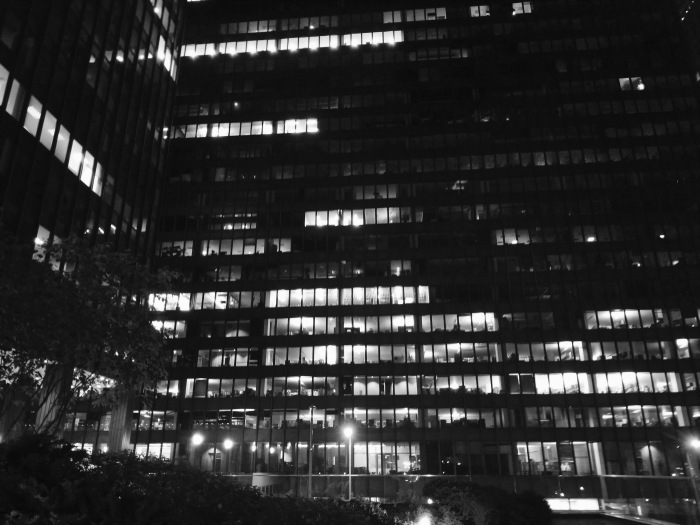 Black and white photo of Illinois Building at night no.3