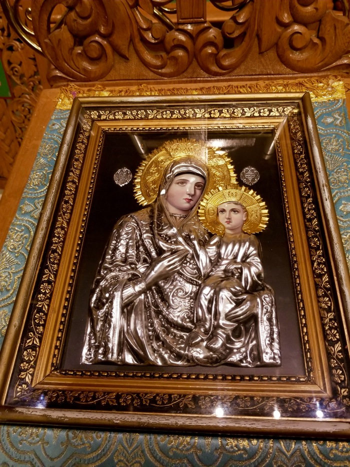 Mother Mary gold plated art at Roman Orthodox Christian church