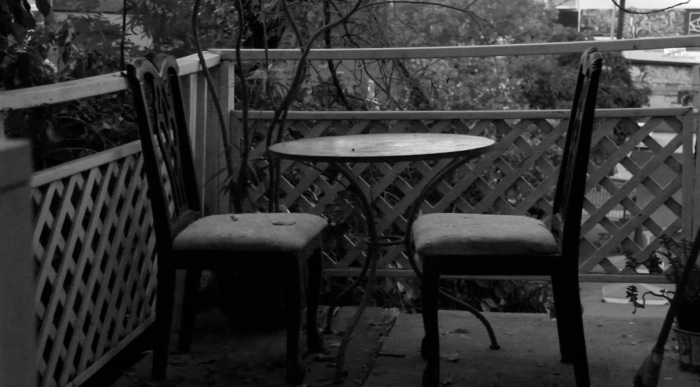 Black and white photo of abandoned outdoor table Echo Park California