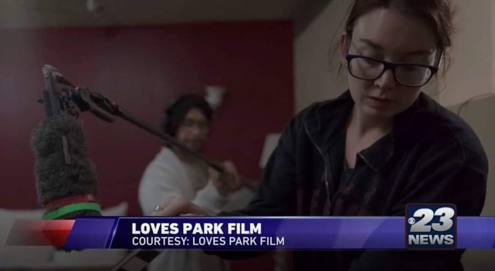 WIFR Channel 23 News 'Loves Park' Behind-the-Scenes still of Director of Photography Siena Larson
