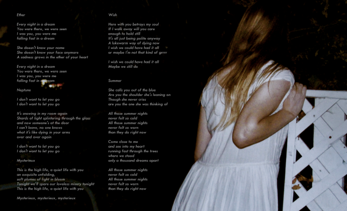 Original lyrics to 'Loves Park' EP by White Blush